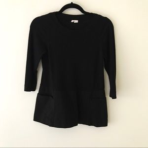 ANTHROPOLOGIE Black Mixed Material Sweater